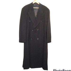 TISSUTO ITALIANO VINTAGE Italian Cashmere Wool Blend Long Black Coat size 46